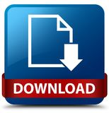 Download (document icon) blue square button red ribbon in middle Stock Image