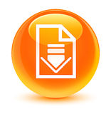 Download document icon glassy orange round button Stock Images