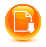 Download document icon glassy orange round button Royalty Free Stock Photography