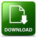 Download (document icon) green square button. Download (document icon) isolated on green square button abstract illustration Royalty Free Stock Photography