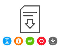 Download Document line icon. File sign. Download Document line icon. Information File sign. Paper page concept symbol. Report, Information and Refresh line Royalty Free Stock Photo