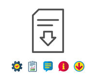 Download Document line icon. File sign. Download Document line icon. Information File sign. Paper page concept symbol. Report, Service and Information line Stock Photography
