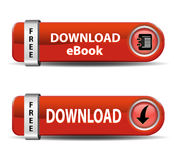 Download Ebook Buttons. Download buttons red color with shadow Stock Photography