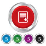 Download file icon. File document symbol. Round metallic buttons Stock Image