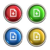 Download file icon glass button. Download file round shiny 4 color web icons with metal frame,3d rendered isolated on white background Stock Photography