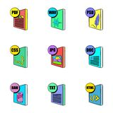 Download file icons set, cartoon style Stock Photography