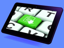 Download File Key Tablet Shows Downloaded Software Or Data Stock Images