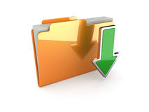 Download folder. 3d illustration of download folder on white background Royalty Free Stock Photography