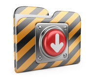 Download folder with button. 3D icon isolated. On white Stock Image