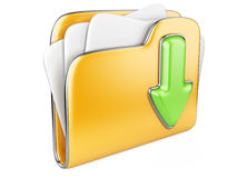 Download folder 3d icon. Download folder icon. Transferring information concepts. 3d illustration over white Stock Photo