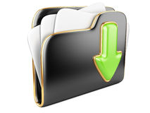 Download folder 3d icon. Download folder icon. Transferring information concepts. 3d illustration over white Royalty Free Stock Image