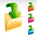 Download Folder Icon. Illustration of a glossy 3D download folder icon Stock Photography