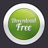 Download free button. Vector green round sticker. Metallic icon with gradient Stock Photos