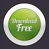 Download geben Knopf frei. Grüner runder Aufkleber des Vektors. Stockfotos
