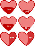 Download heart bar. Few download hearts bar progress Royalty Free Stock Image