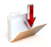 Download icon. Open folder and red download arrow on white background - 3d render Stock Photography