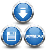 Download icon. Dark blue button with a shade,  illustration Royalty Free Stock Photos
