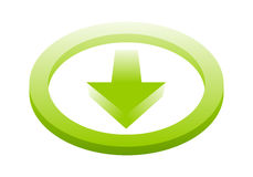 Download icon. Hi-tech vector green download button, icon royalty free illustration
