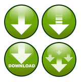 Download icon button. Four symbol / sign / button variations for a download, high-res stock illustration