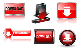Download icon, buttons set Royalty Free Stock Image