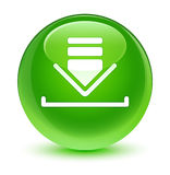 Download icon glassy green round button. Download icon isolated on glassy green round button abstract illustration Royalty Free Stock Image