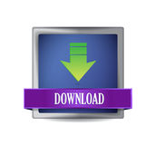 Download icon on glossy blue square Stock Images