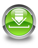 Download icon glossy green round button Stock Photography