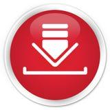 Download icon premium red round button Stock Image