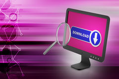 Download icon searching the computer through magnifier. In color background Royalty Free Stock Photos