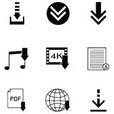 Download icon set. The download of icon set Stock Images