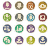 Download icon set. Download web icons on color paper labels Stock Images