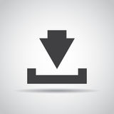 Download icon with shadow on a gray background. Vector illustration Stock Photography