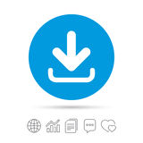 Download icon. Upload button. Load symbol. Copy files, chat speech bubble and chart web icons. Vector Stock Photography