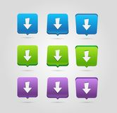 Download icon. Upload button. Load symbol. Rounded squares buttons. royalty free illustration