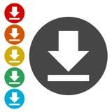 Download icon, Upload button, Load symbol set. Vector icon vector illustration