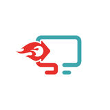 Download icon vector illustration. Download sign on pc laptop. Red upload button. Web download flat icon Stock Image