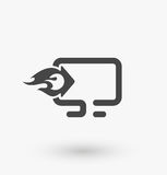 Download icon vector illustration. Download sign on pc laptop. upload button. Web download flat icon. Eps8 Stock Photo