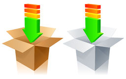 Download icons. Two download icons in the form of cardboard boxes with arrows Stock Image