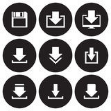 Download icons set. White on a black background Royalty Free Stock Photos