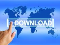 Download-Karte zeigt das Download-Herunterladen Lizenzfreie Stockbilder