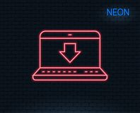 Download line icon. Internet Downloading sign. Neon light. Download line icon. Internet Downloading with Laptop sign. Load file symbol. Glowing graphic design Stock Images