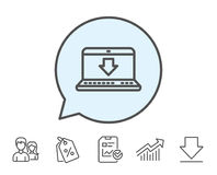 Download-Linie Ikone Internet-Downloadingzeichen Lizenzfreie Stockbilder