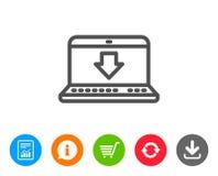 Download-Linie Ikone Internet-Downloadingzeichen Stockfoto