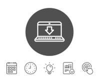 Download-Linie Ikone Internet-Downloadingzeichen Lizenzfreies Stockbild