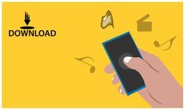 Download met hand - gehouden smartphone op de gele achtergrond Waar te om muziek, documentfilms, enz. te downloaden Vlakke vector vector illustratie