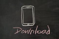 Download mobiel gebruiken stock afbeelding