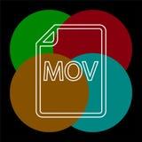 Download MOV document icon - vector file format. Symbol. Thin line pictogram - outline editable stroke stock illustration
