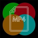 Download MP4 document icon - vector file format. Symbol. Thin line pictogram - outline editable stroke stock illustration