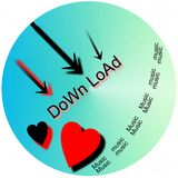 Download music. Button for downloading music, round button for downloading music Stock Photos