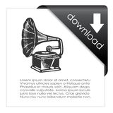 Download music icon. On white background vector illustration